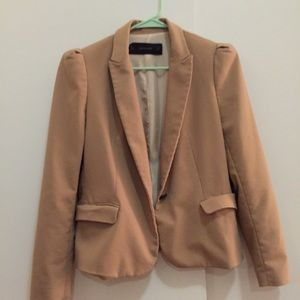 Zara Spain nude taupe blazer suit top work jacket